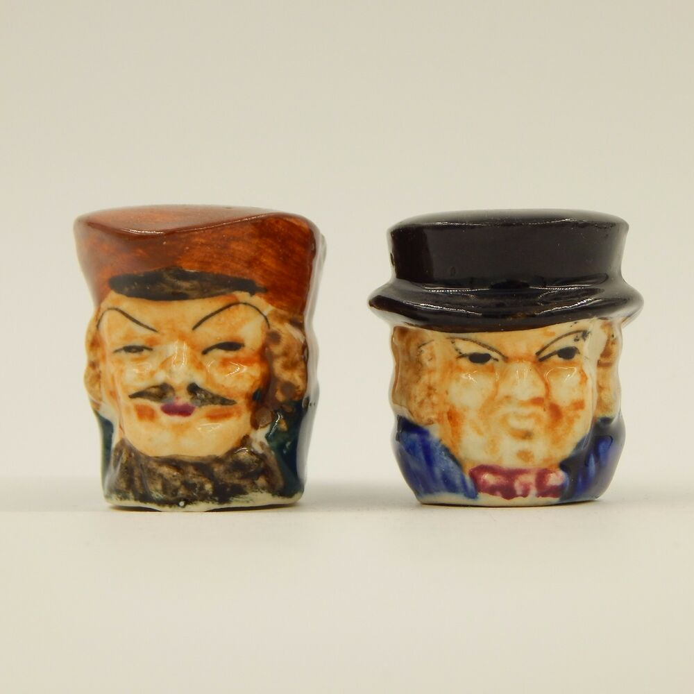 Vintage Toby Salt And Pepper Shakers Set Mug Cup Novelty