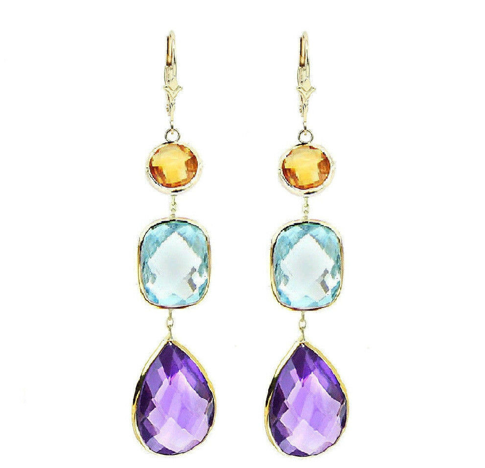 14k yellow gold gemstone earrings with citrine blue topaz. Black Bedroom Furniture Sets. Home Design Ideas