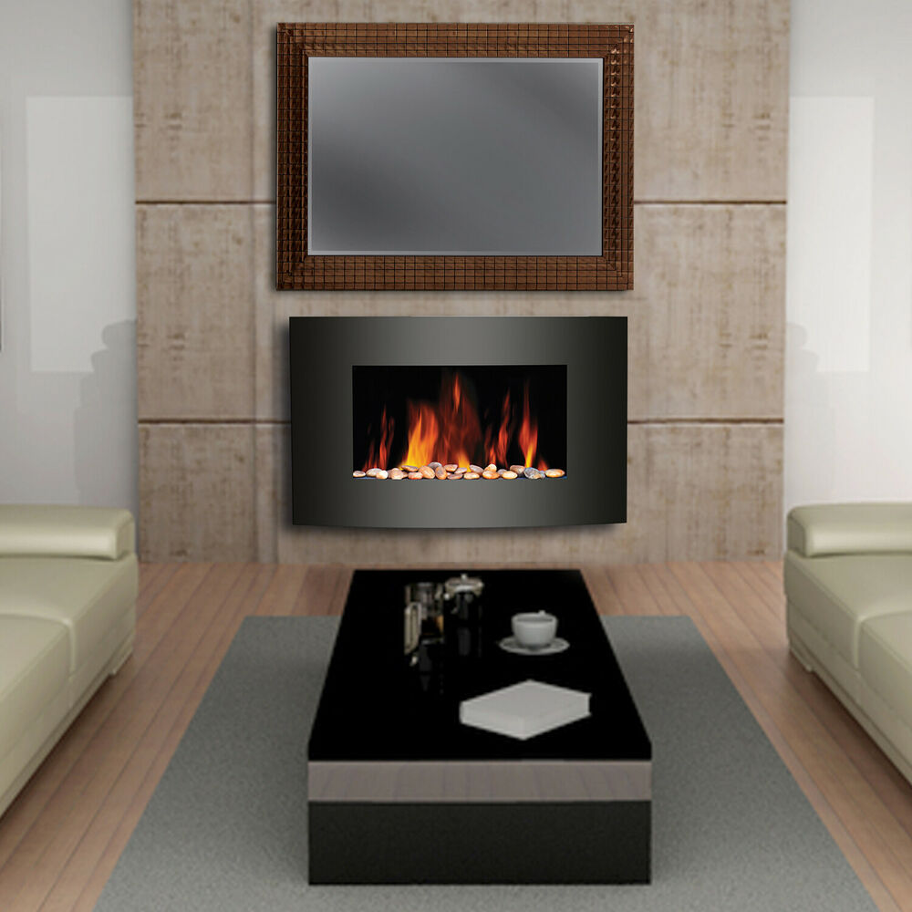Wall mounted electric flicker flame fireplace home living for Living room heater