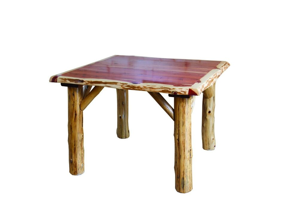 Rustic red cedar log traditional square dining table and 4 for Traditional dining table and chairs