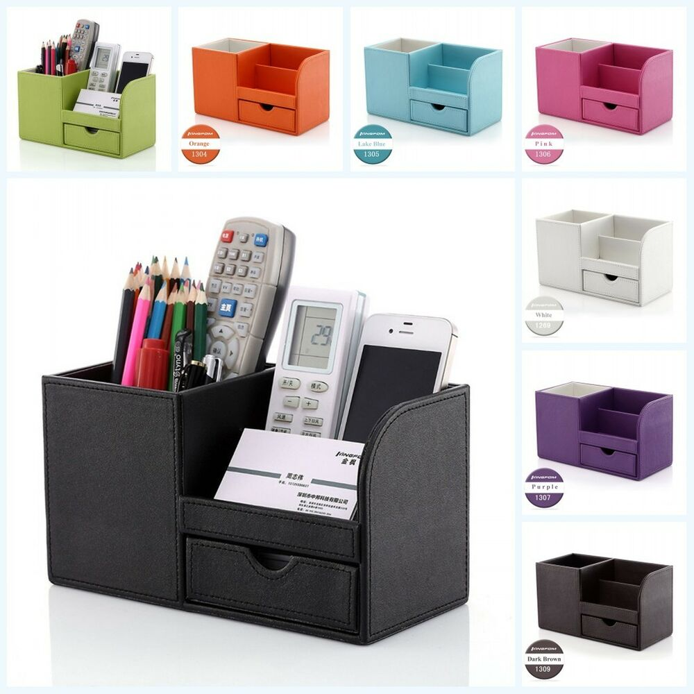 home office desk leather wooden stationery cosmetic organizer pencils holder box ebay. Black Bedroom Furniture Sets. Home Design Ideas