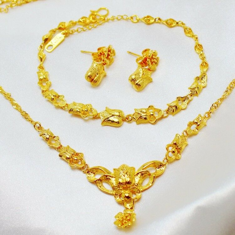 Women S 24k Yellow Gold Filled Rose Necklace Bracelet