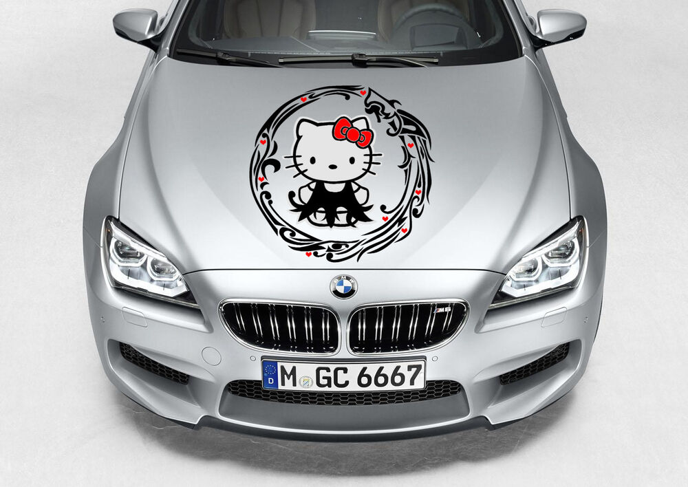 TRIBAL HELLO KITTY CUTE GIRL SWIRLS DECAL VINYL GRAPHIC HOOD CAR - Vinyl decals cartribal hearts decal vinylgraphichood car hoods decals and