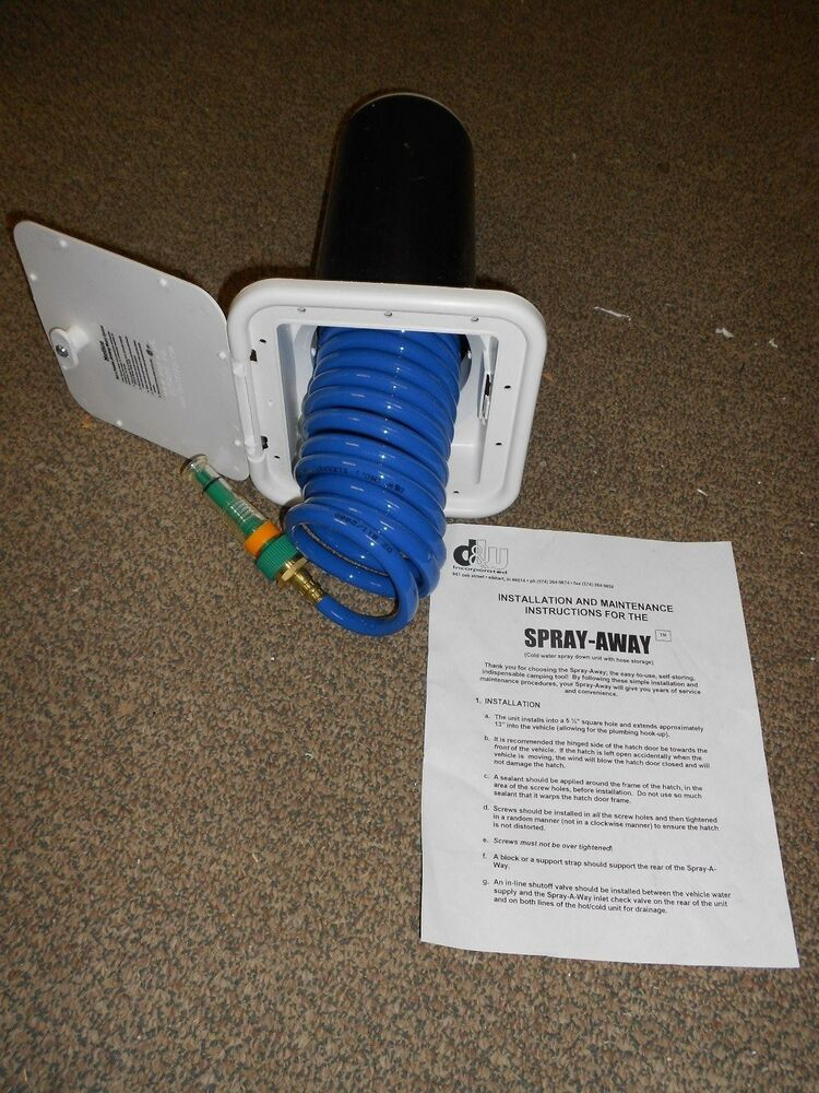 Rv Camper Trailer Spray Away Exterior Wash Station With Hose New Ebay