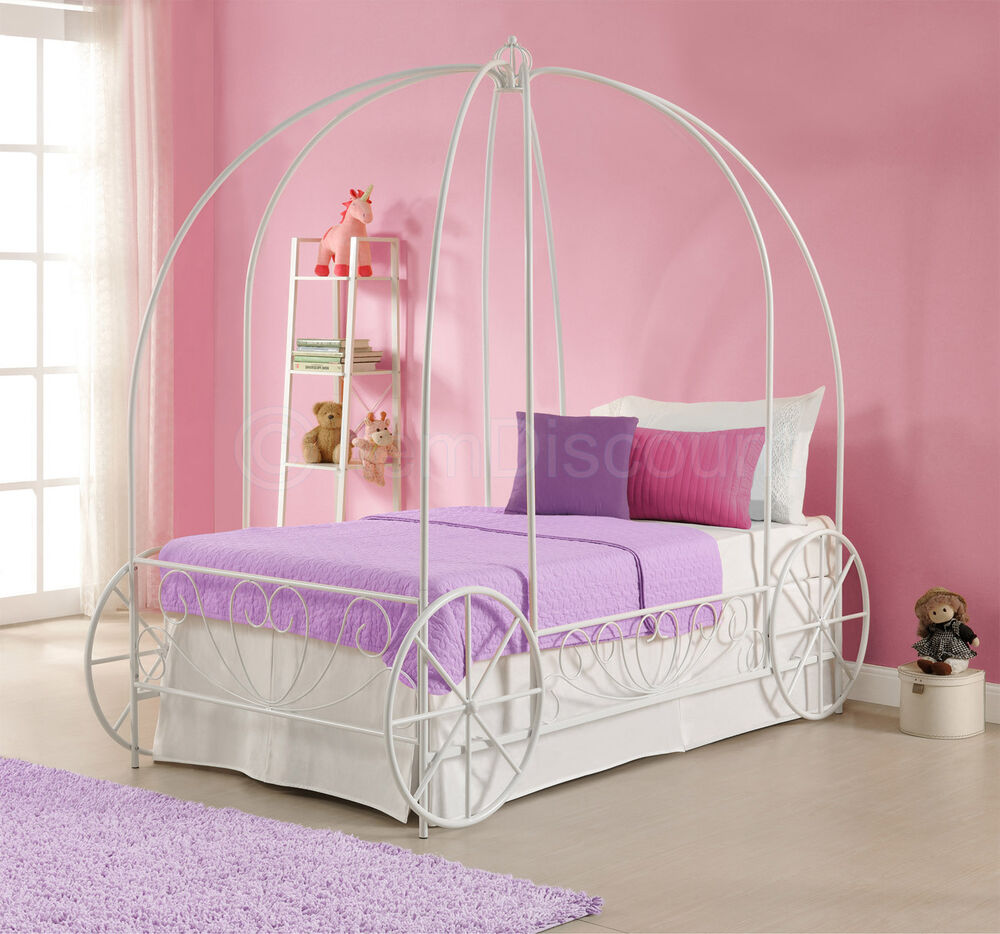 twin white metal princess cinderella carriage kid girls toddler canopy bed frame ebay