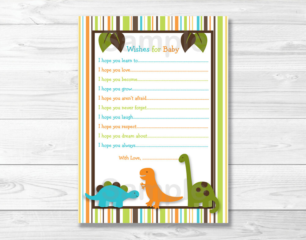 Dinosaur Friends Printable Baby Shower Wishes for Baby ...
