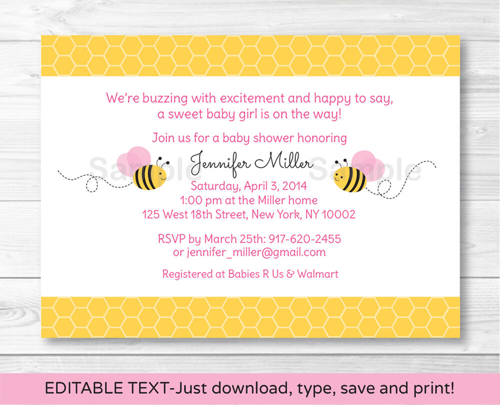 Pink Bumble Bee Printable Baby Shower Invitation Editable
