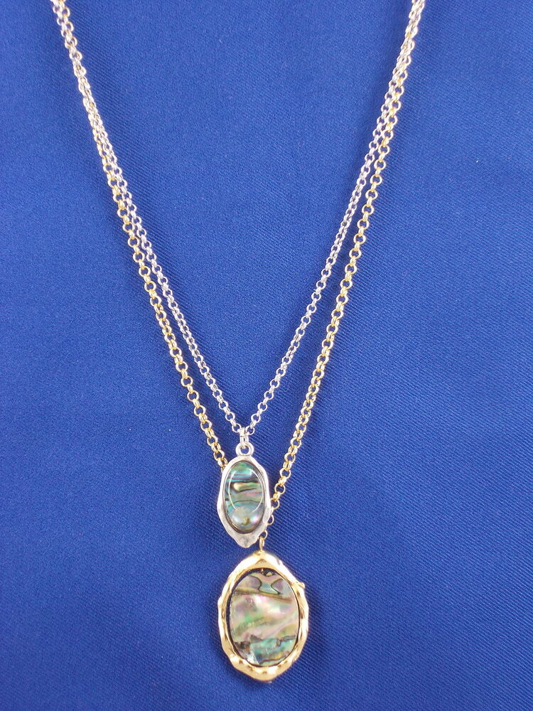 Robert Lee Morris Soho Silver Gold Plated Oval Abalone