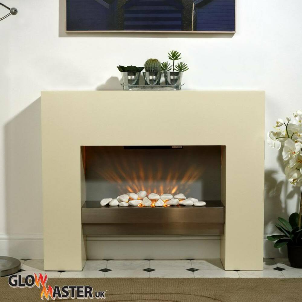 Free Standing Creme Mdf Fireplace Flicker Flame Heater Inset Mantel Living Room Ebay
