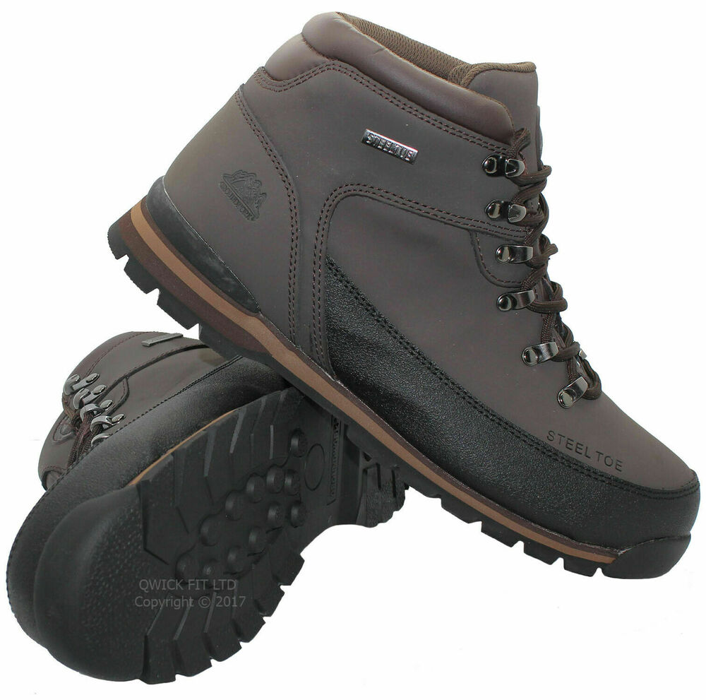 mens groundwork leather safety work boots steel toe cap