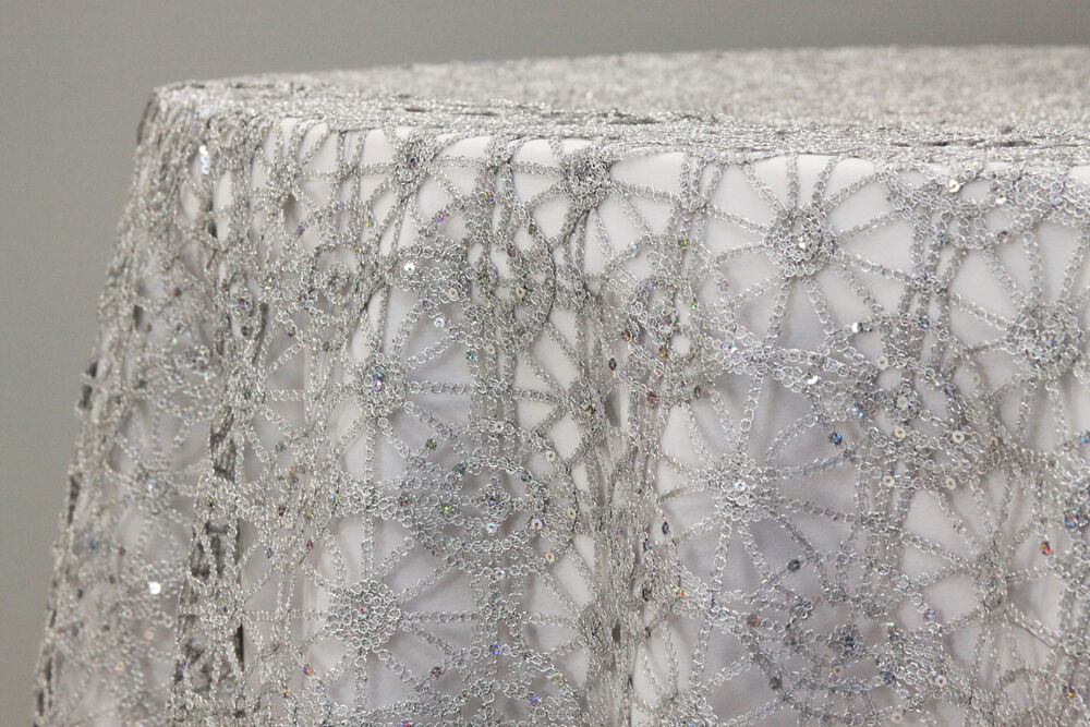 5 Yards Sequin Studded Chemical Lace Embroidery Fabric