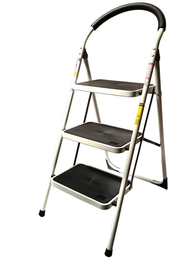 3 Step Ladder Lightweight Folding Stool Heavy Duty