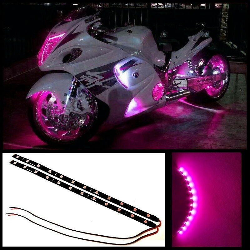 "Pink Led Strip Light: 2x 12"" Hot Pink 12 SMD LED Waterproof Motorcycle LED Strip"
