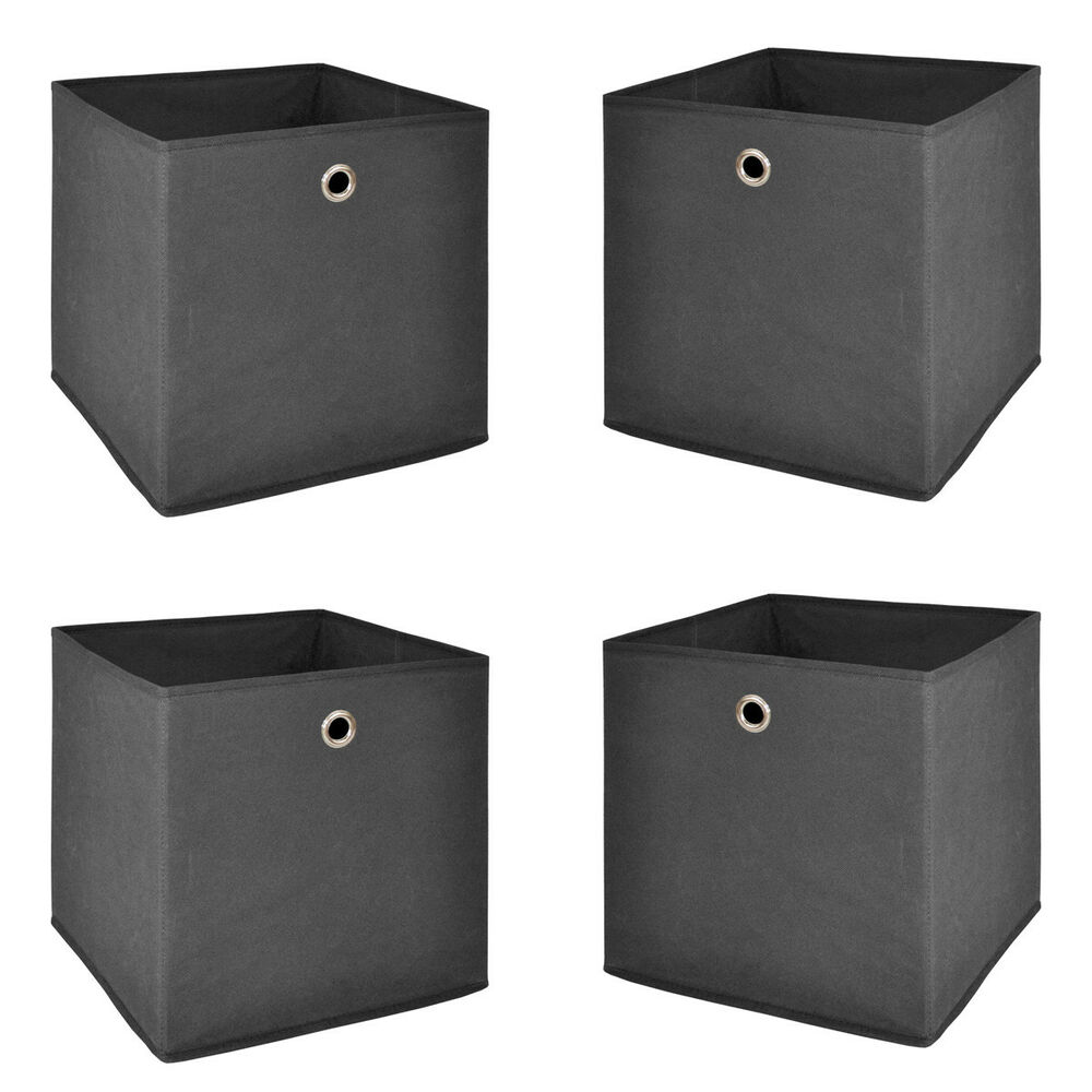 faltbox 4er set korb regal aufbewahrungs box in anthrazit 32x32x32 cm ebay. Black Bedroom Furniture Sets. Home Design Ideas