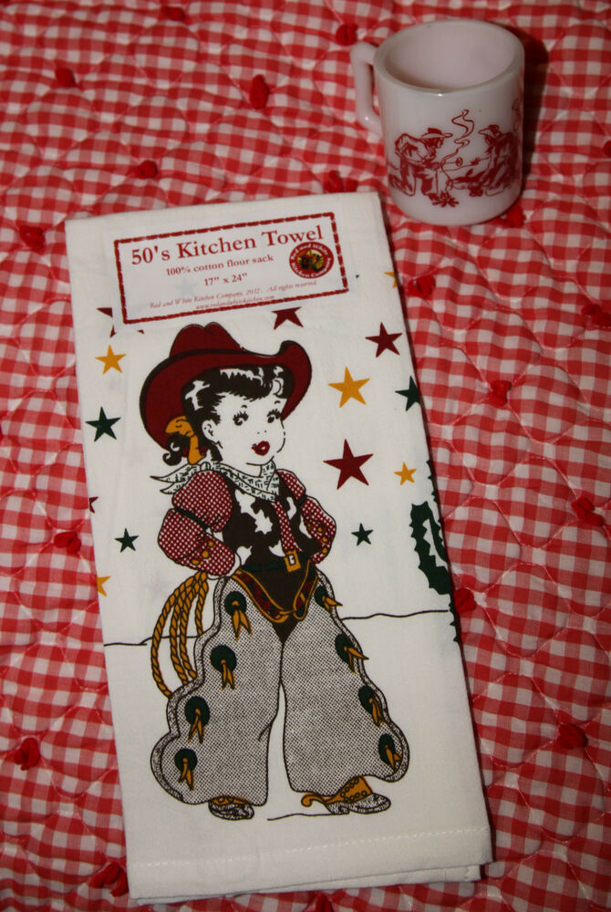 Retro Vintage Style Cotton Flour Sack 50 39 S Kitchen Towels With 39 The Lil Cowgirl 39 Ebay
