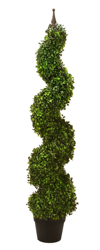 60 artificial boxwood spiral topiary in outdoor tree pot for Garden topiary trees