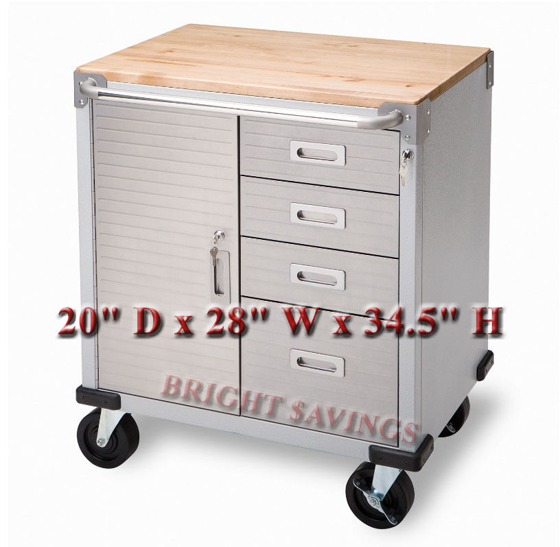 New Stainless Steel 4 Drawer Rolling Tool Chest Box