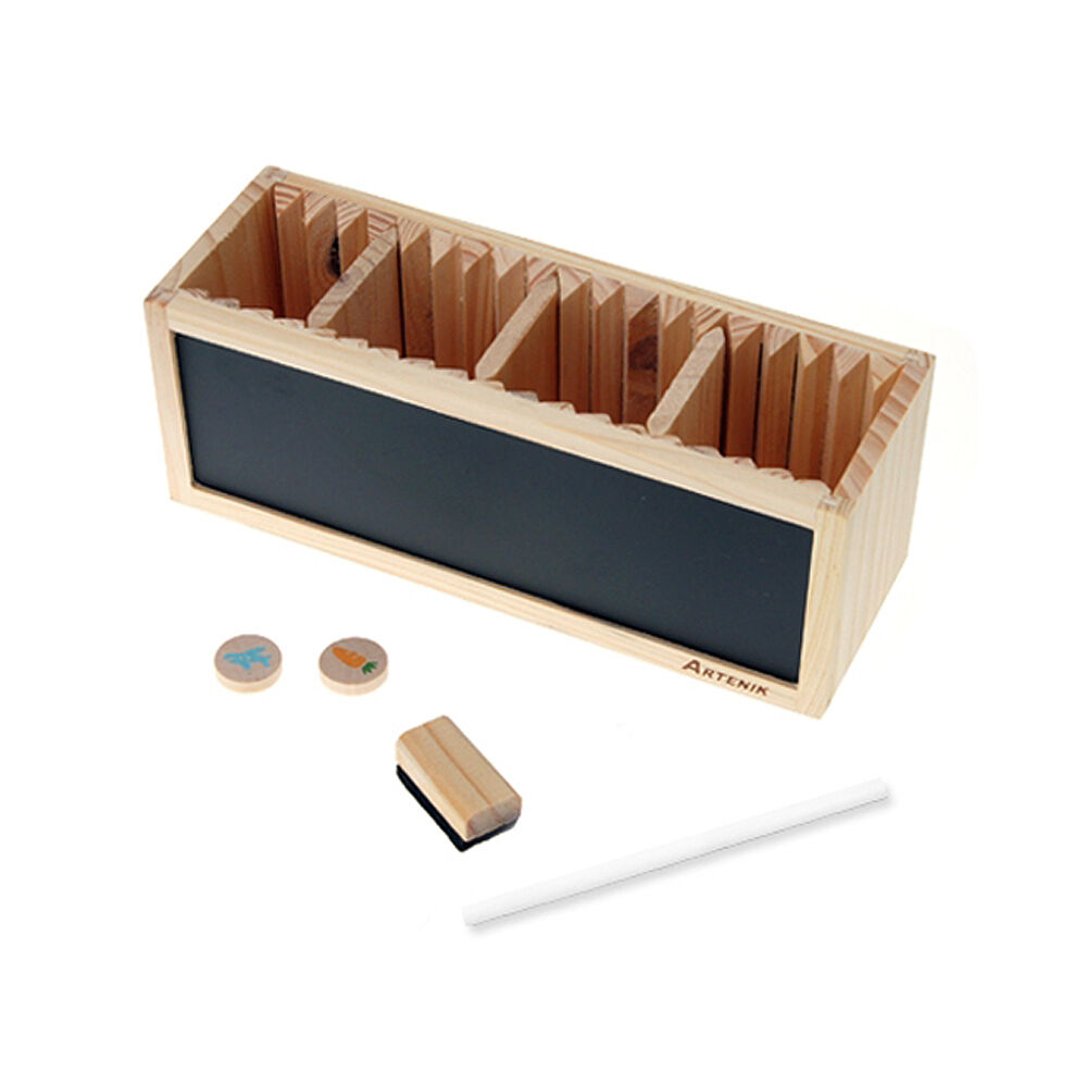 Wood black white board penholder desk organizer smart - Desk organizer white ...