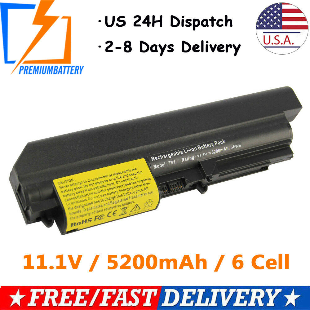 6 Cell Battery For Ibm Lenovo Thinkpad R61 T61 T400 R400