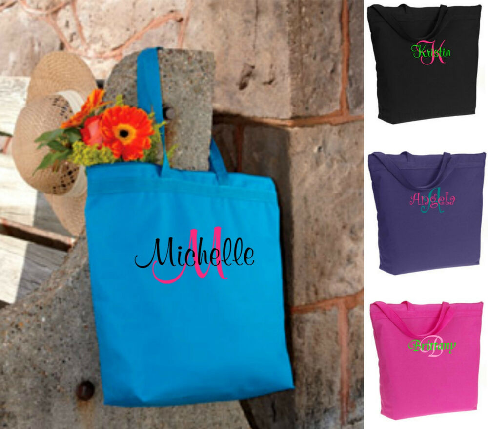 Bridesmaid Gifts Beach Wedding: 8 Personalized Monogrammed Tote Bags Bridesmaid Gift