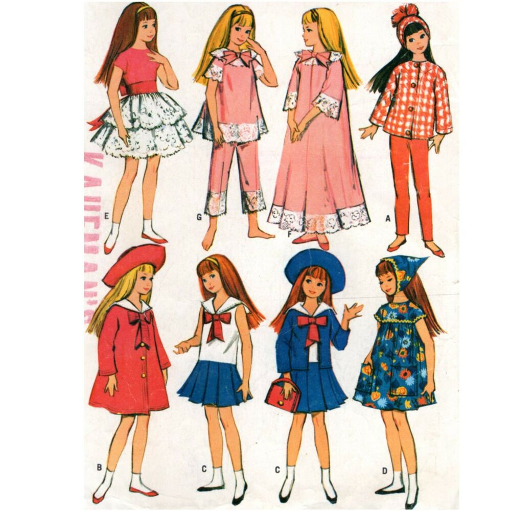 Sewing Pattern McCALLS 7480 Skipper 9 in Doll Outfits 1960s Clothes ...