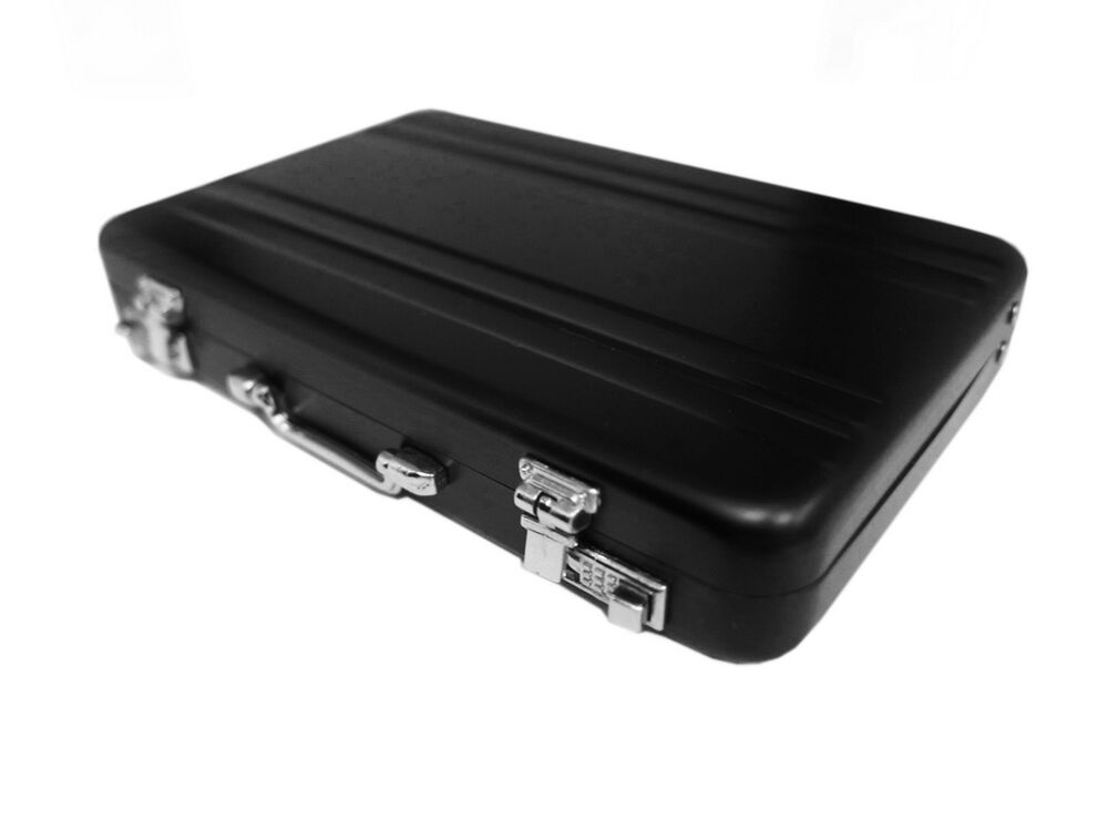 Vintage mini aluminum briefcase suitcase business name for Briefcase business card holder