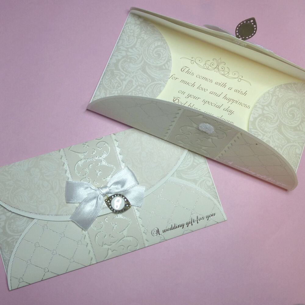 Wedding Gift Vouchers: Luxury Hand Crafted Ivory White Wedding Day Money Voucher