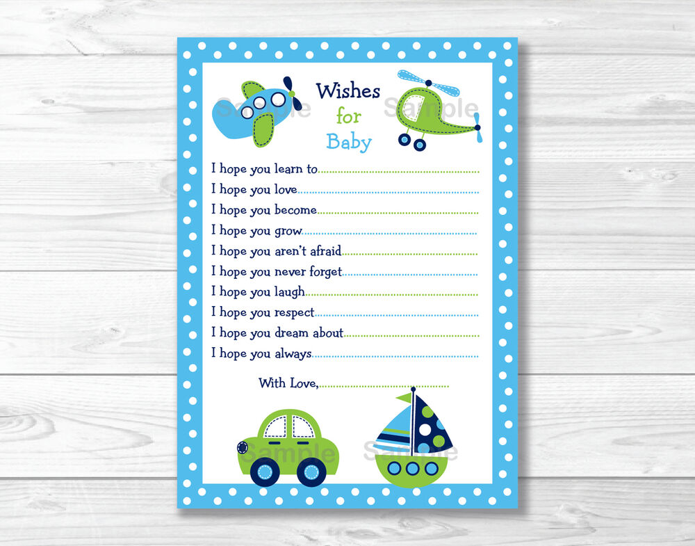 boat plane printable baby shower wishes for baby advice cards ebay