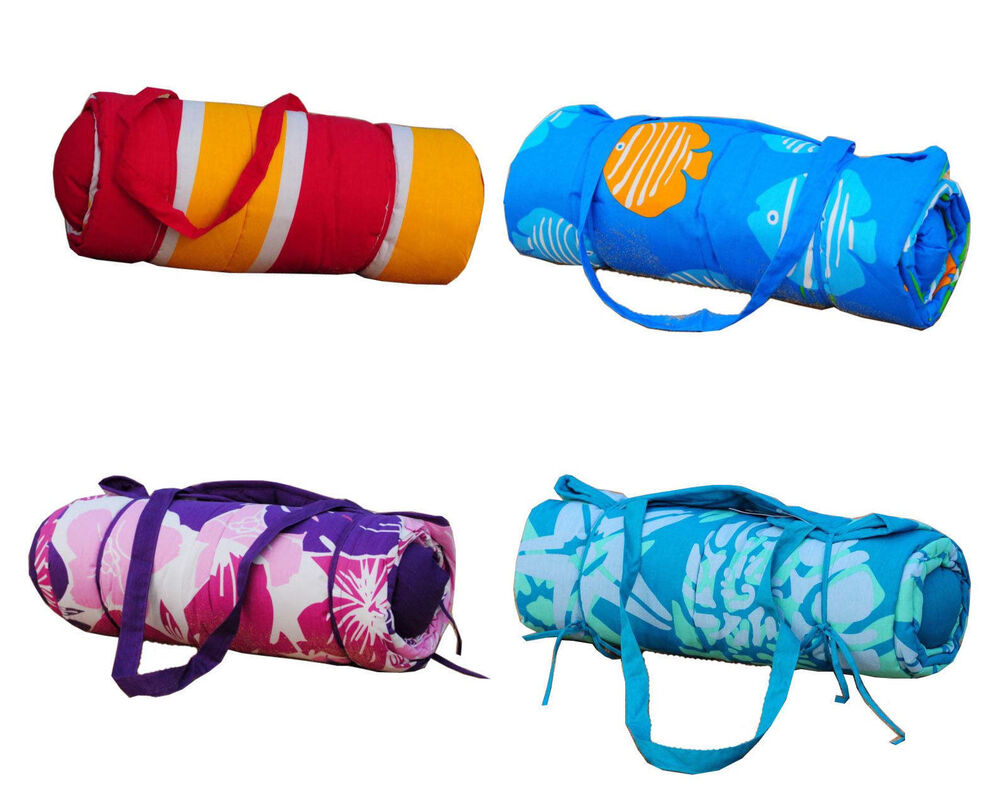 Kids Bath Beach Towel Roll Up Beach Mat Neck Pillow Great