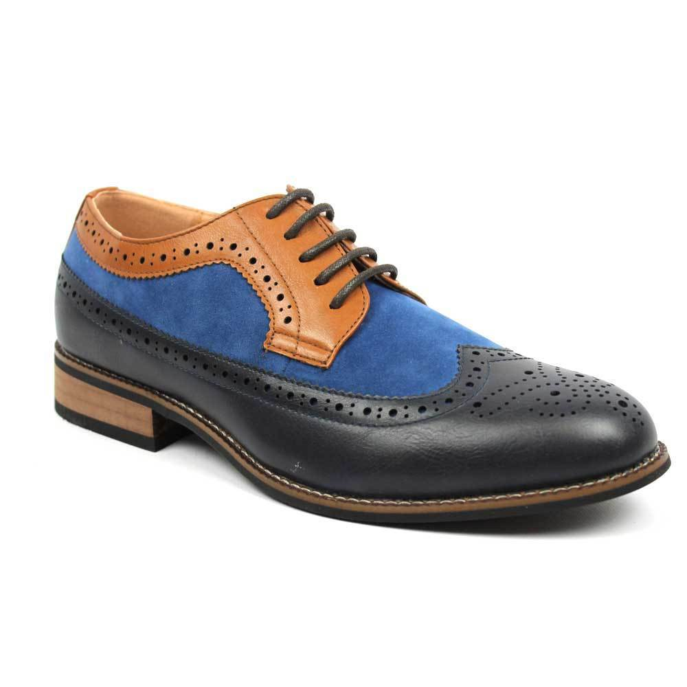 Mens Blue Suede Brown Leather Shoes