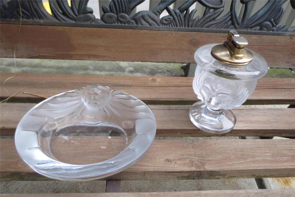 vintage lalique tete de lion smoke set ashtray lighter msrp ebay. Black Bedroom Furniture Sets. Home Design Ideas