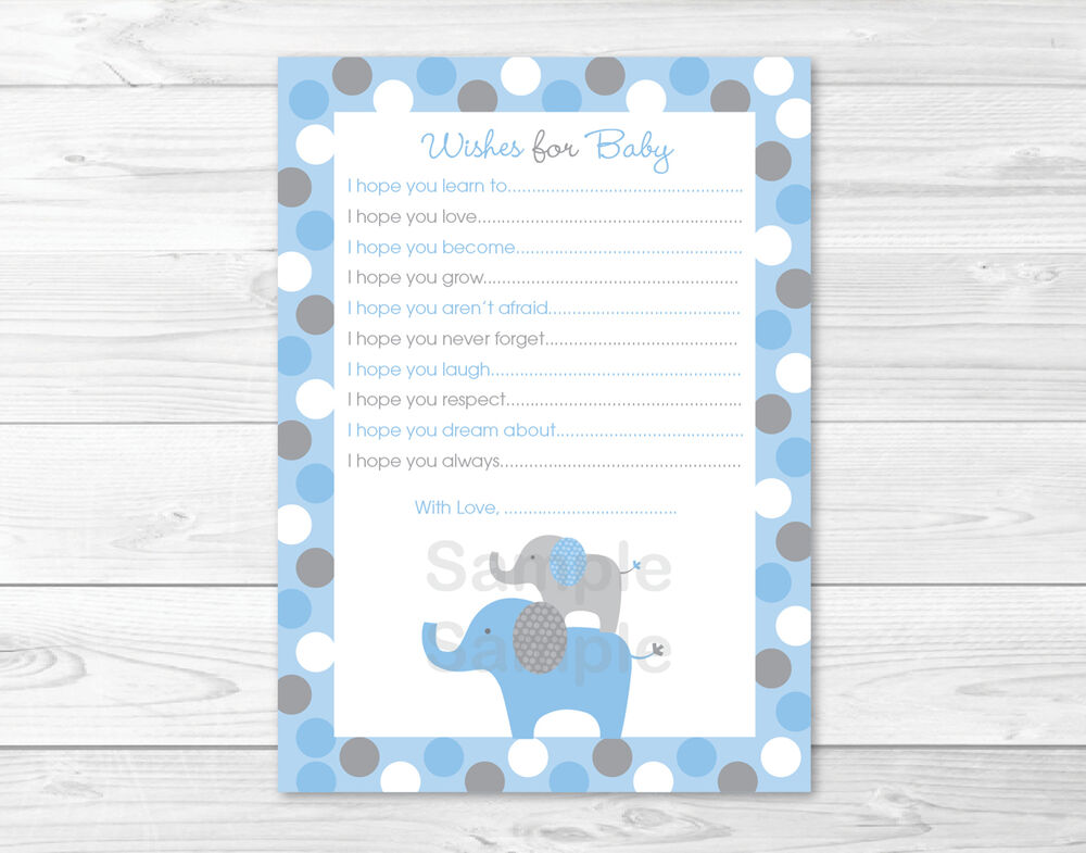 elephants printable baby shower wishes for baby advice cards ebay