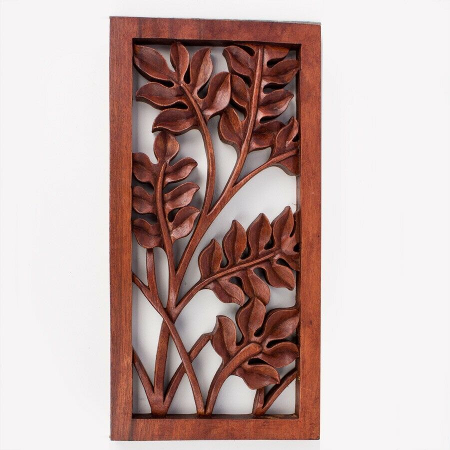 Balinese Traditional Leaves Flower Carved Wood Panel Bali