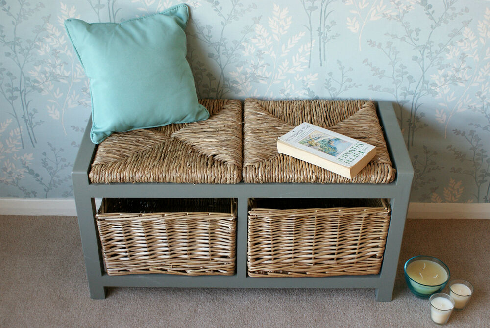 Gloucester 2 Seater Storage Bench Wicker Rattan Basket Drawers Cabinet Farmhouse Ebay