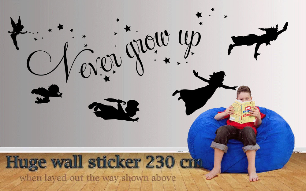 peter pan never grow old quote wall decal sticker over 2 meters in length ebay. Black Bedroom Furniture Sets. Home Design Ideas