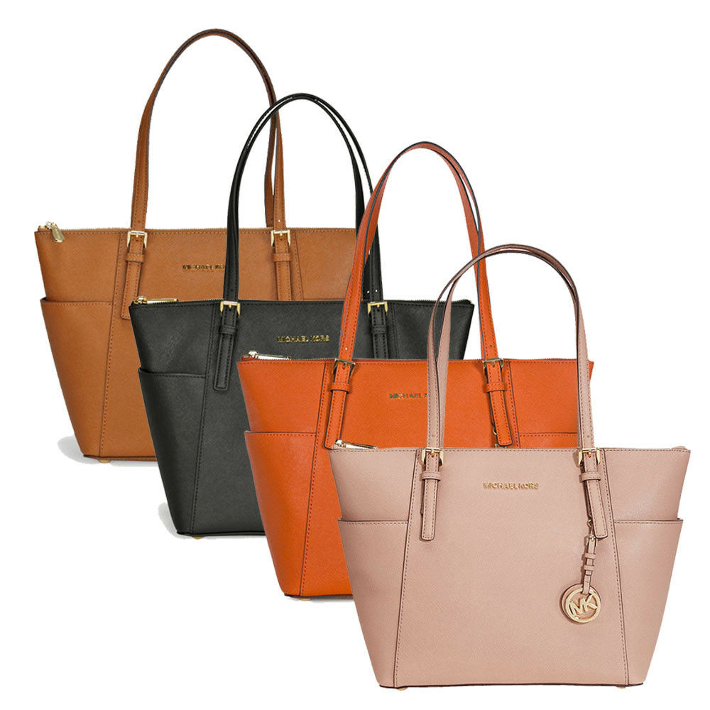 29c744406011 Details about Michael Kors Jet Set Top-Zip Saffiano Leather Medium Tote -  Choose color