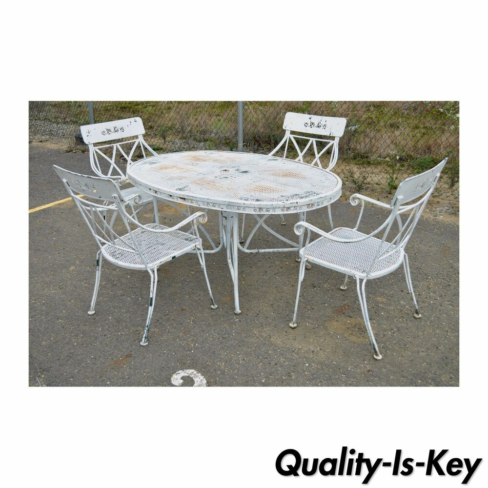 Vintage Hollywood Regency Wrought Iron Dining Set Chairs