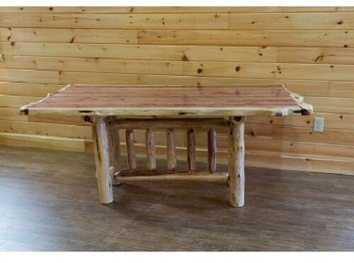 Rustic Red Cedar Log Trestle Dining Table Amish Made In