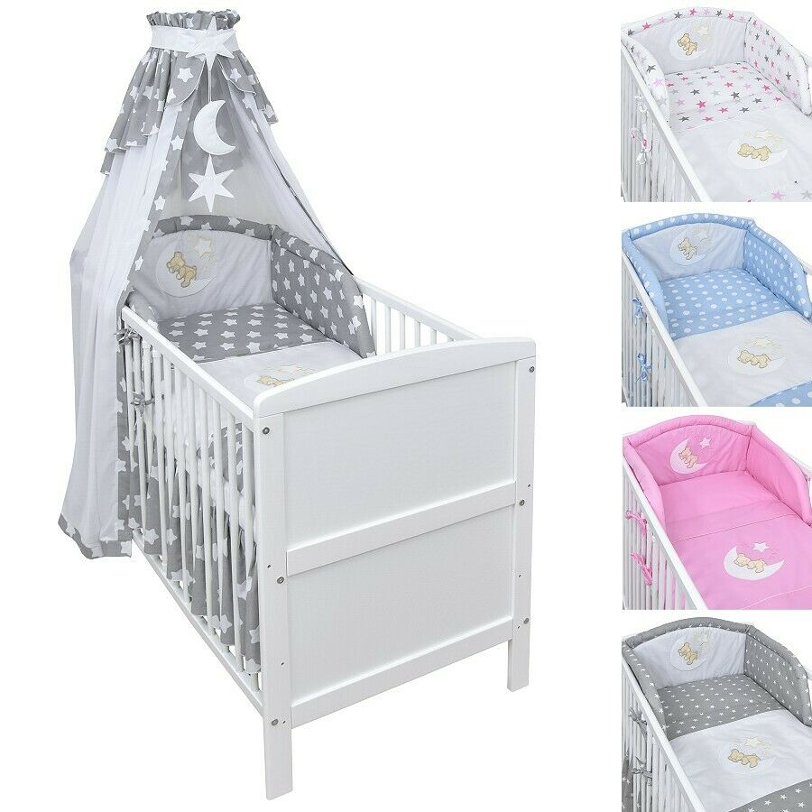 babybett kinderbett juniorbett weiss 140x70 bettset applikation komplett neu ebay. Black Bedroom Furniture Sets. Home Design Ideas