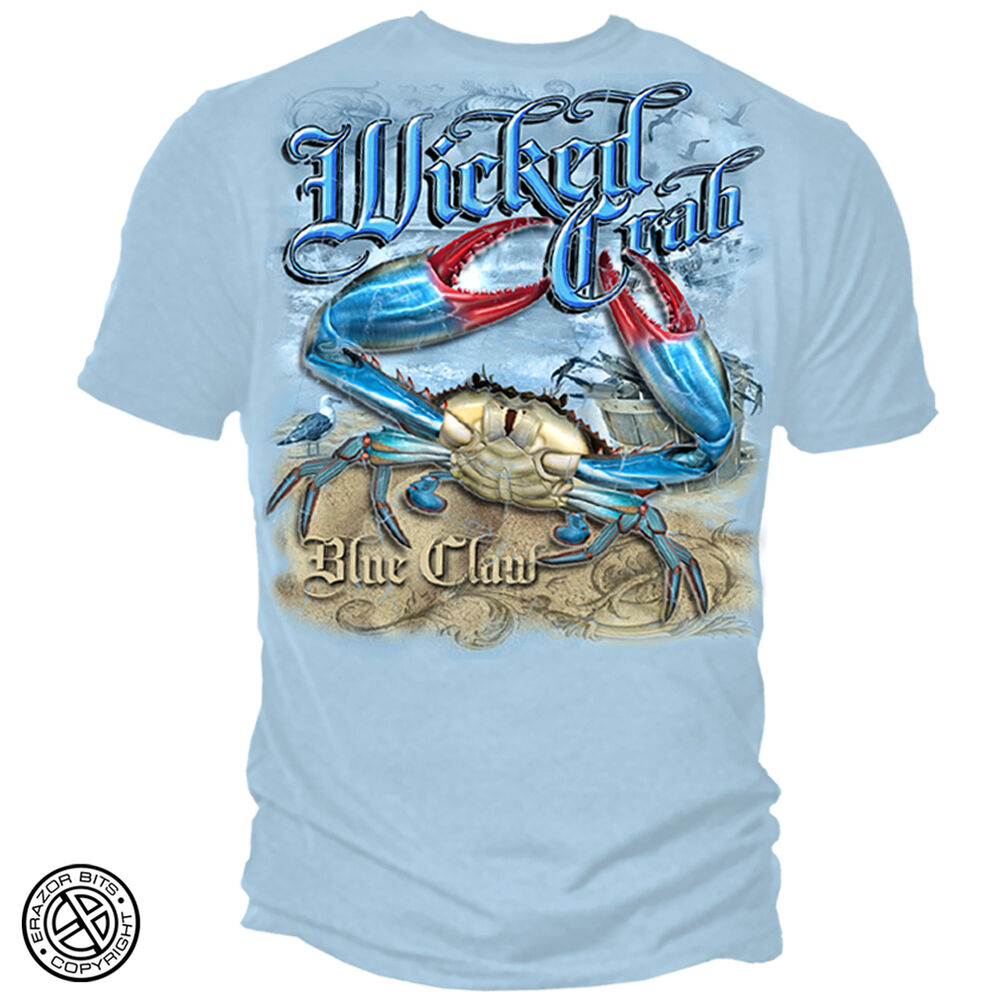 New maryland crab blue claw t shirt ebay for Saltwater fishing shirts