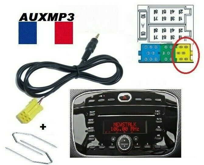 cable adaptateur aux mp3 ect sur autoradio fiat punto evo 2010 2 cl s ebay. Black Bedroom Furniture Sets. Home Design Ideas