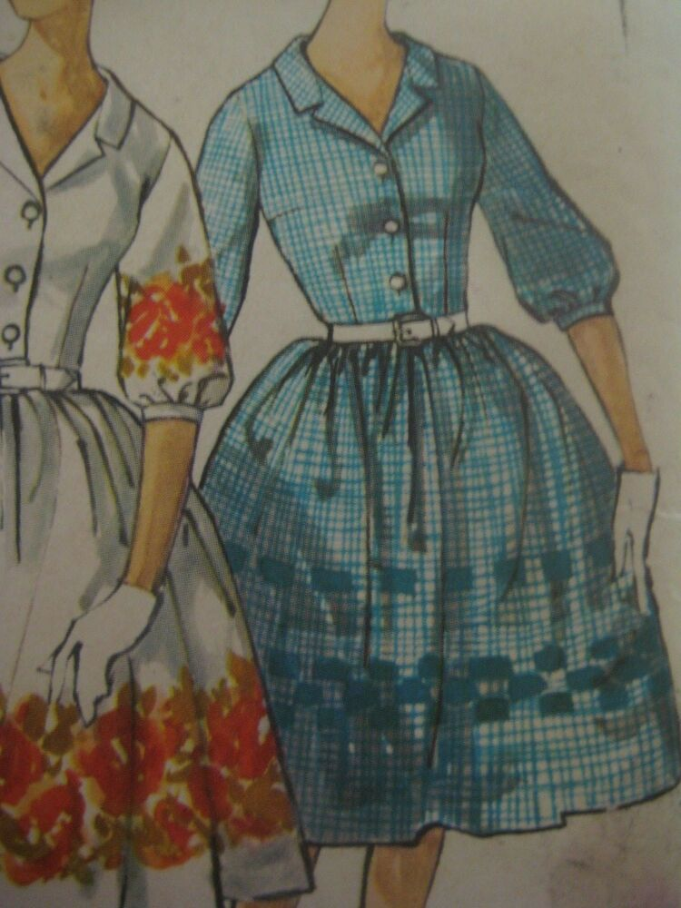 Vintage 60s Simplicity 4314 FRONT BUTTON DRESS w FULL ...