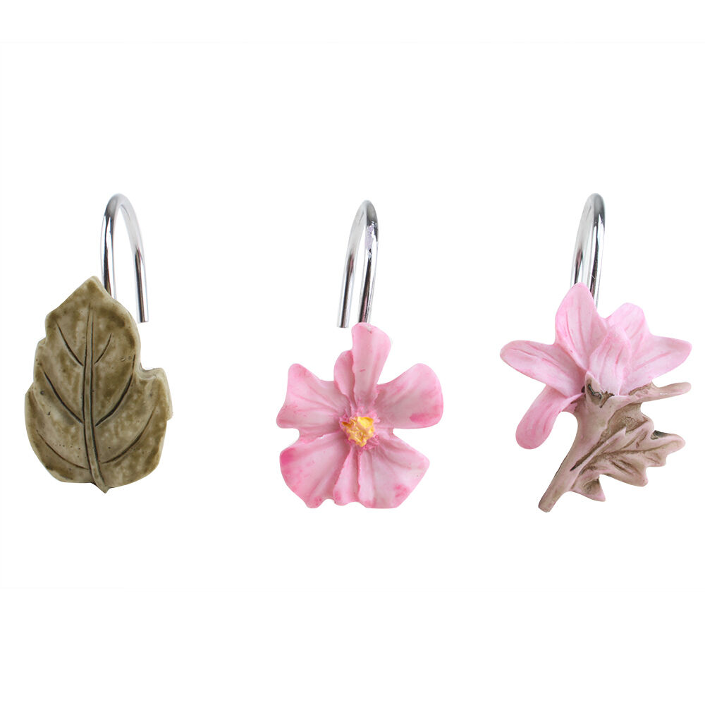 ... Shower Curtain Hooks Bathroom Retro Flower Plant Design Pink | eBay