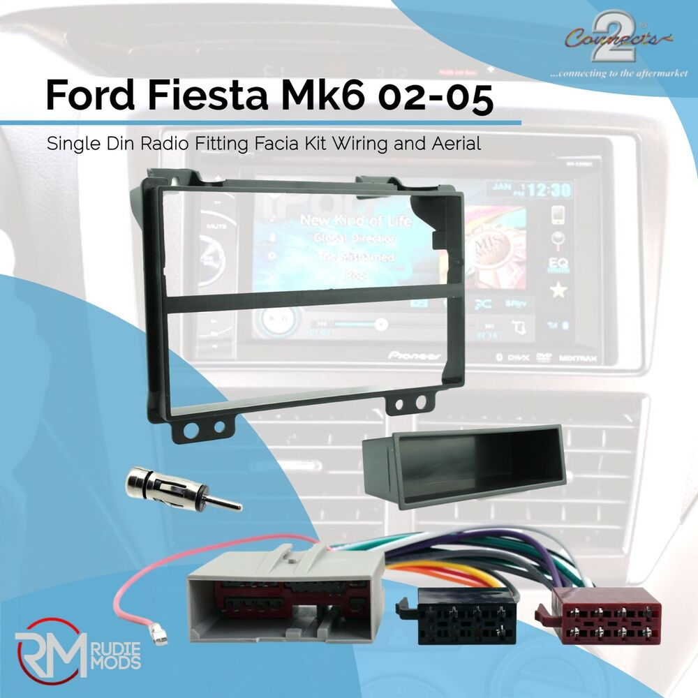 Ford Fiesta Mk6 02 05 Single Din Radio Fitting Facia Kit Wiring And Mazda 3 Cd Car Stereo Fascia Loom Ebay Aerial Ad