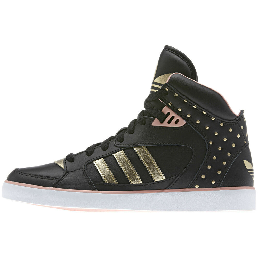 adidas originals amberlight w trefoil black gold trainers casual shoes hi tops ebay. Black Bedroom Furniture Sets. Home Design Ideas