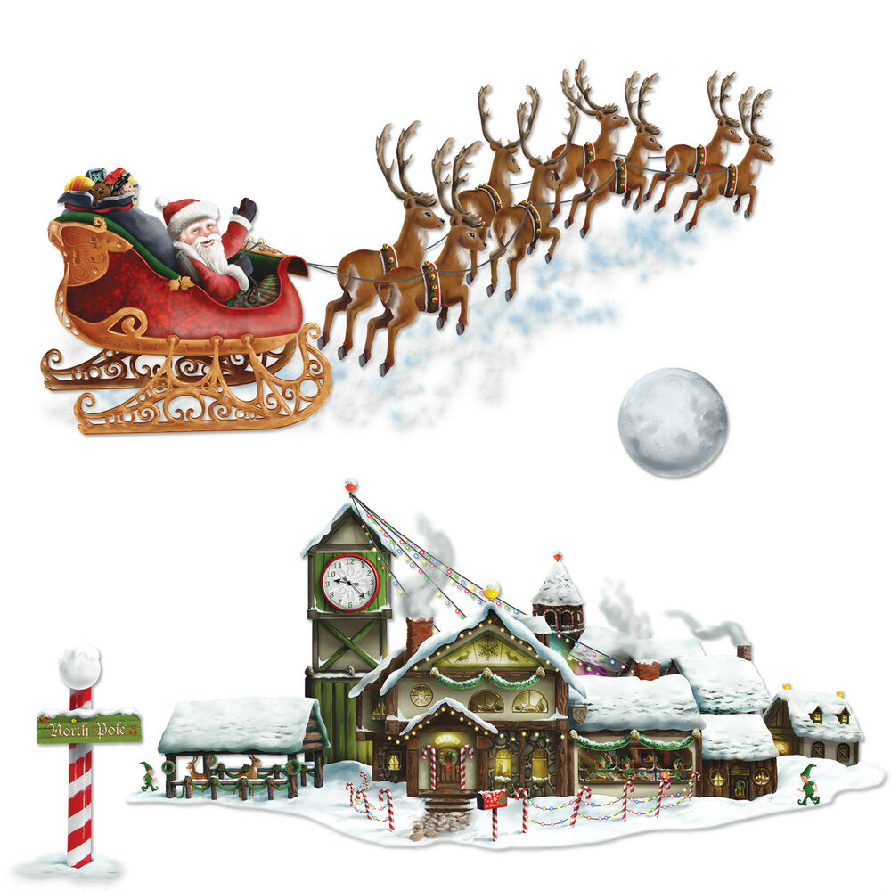 Christmas Winter Party Decoration Santa's Sleigh Workshop Add on Props ...