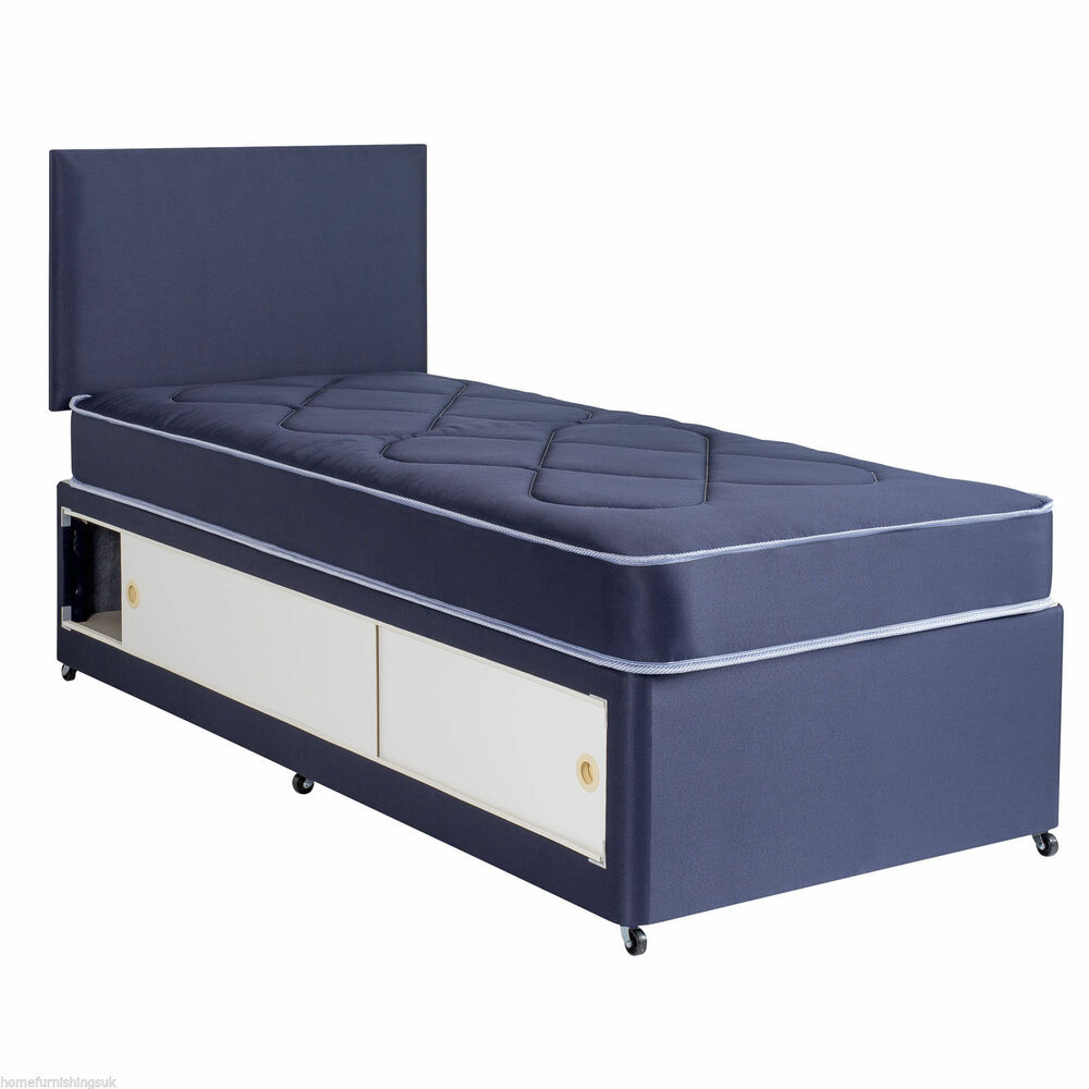 2ft6 3ft kids slide storage divan set in blue or pink with for Divan bed sets with headboard