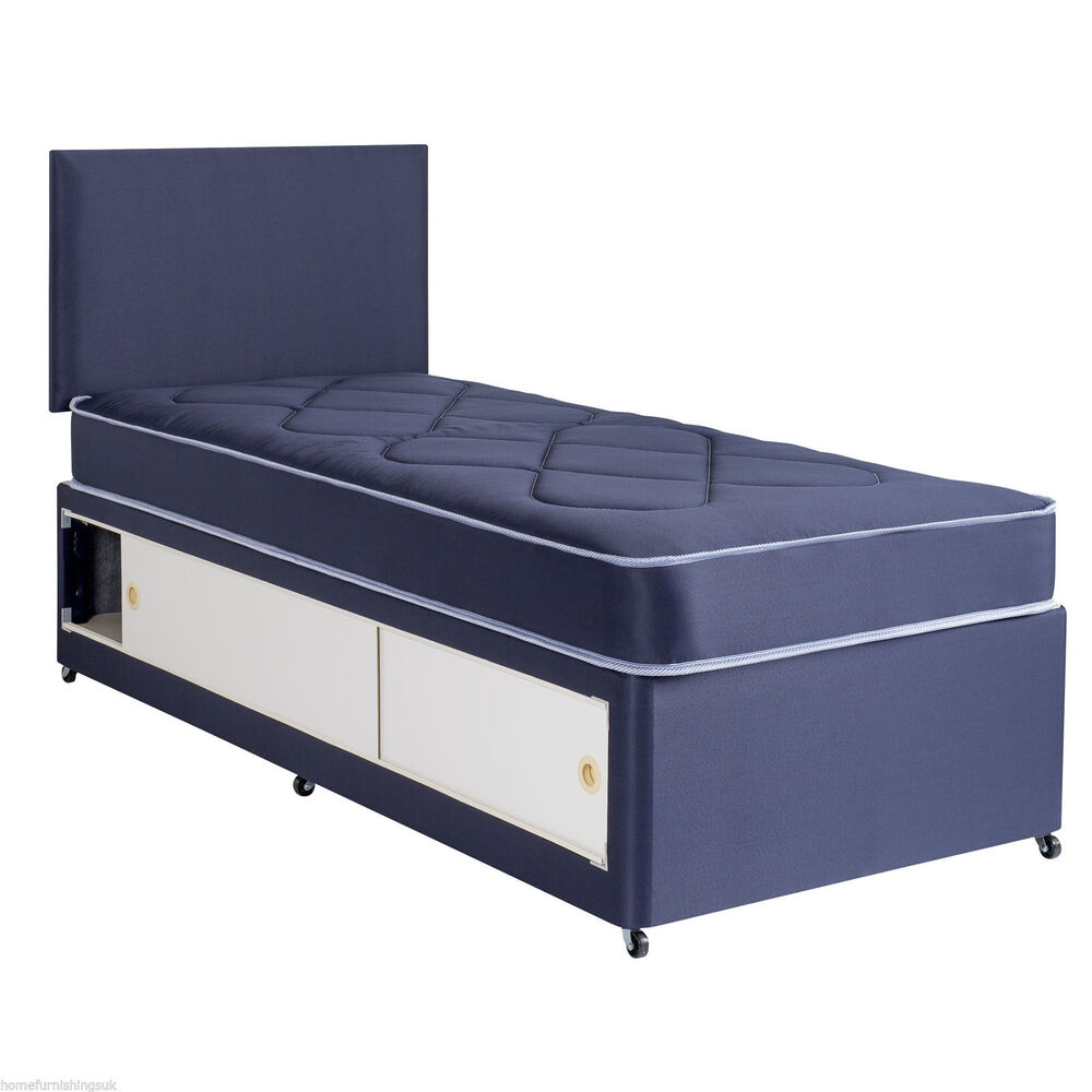 2ft6 3ft kids slide storage divan set in blue or pink with for 3ft divan bed with storage