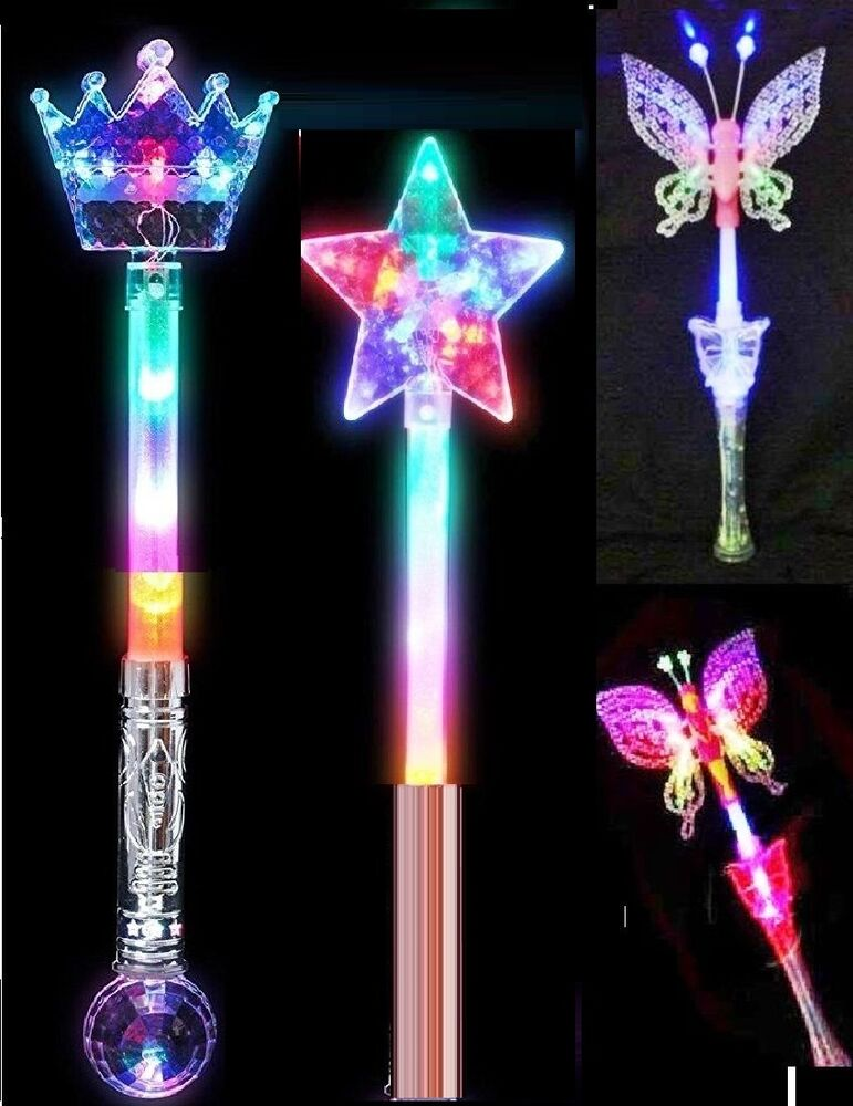 Led flashing fairy butterfly crown star wand light up kids for Light up wand