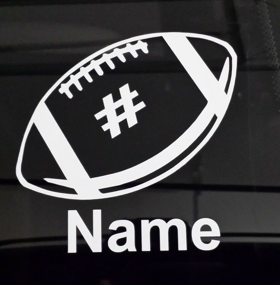 Custom football decal with your kids name and number vinyl for Window number